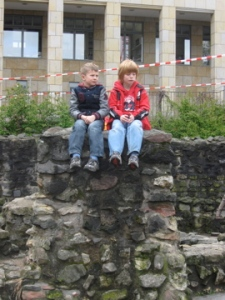 Two kids at the Roman Village